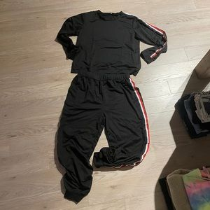 SHEIN Black Tracksuit with red and white stripe